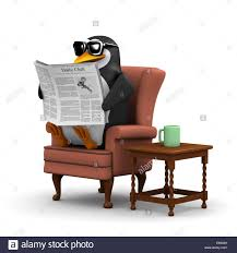 Comfortable Chair by 3d Render Of A Penguin Sitting In A Comfortable Chair Reading The