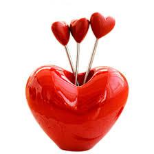 heart shape fruit snack stainless steel fork set kitchen gadget