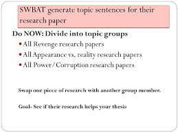 Juniors Topic Sentence Generation  SWBAT generate topic sentences     SlidePlayer TOPIC SENTENCES By now  you should have your thesis statement written and you should have