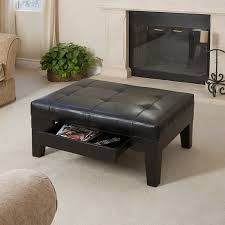 Large Storage Ottoman Coffee Table by Amazon Com Tucson Black Leather Tufted Top Coffee Table W Drawer