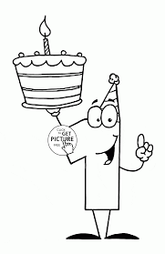 number one with birthday cake coloring page for kids holiday