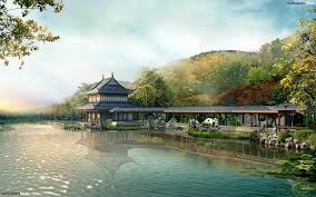 fabulous chinese house near the lake hd wallpaper