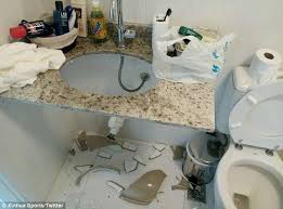 Chinese brand Rio      worst Olympics ever      as athletes complain about     Daily Mail Problems  The Xinhua media team shared this image of a smashed sink in the Olympic