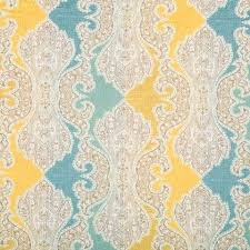 Furniture Upholstery Fabric by Aqua Blue Damask Upholstery Fabric Woven Yellow Blue