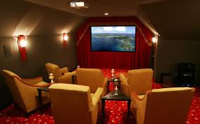 movie room movie room decor with bold red accent which furnished