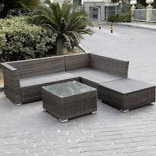 4pc wicker rattan outdoor sectional sofa set