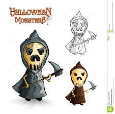 halloween monsters scary cartoon grim reaper eps10 royalty free