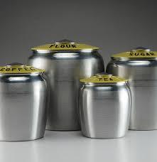 yellow spun aluminum kromex kitchen canister set ebth yellow spun aluminum kromex kitchen canister set
