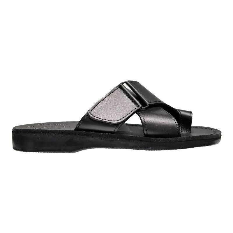 Slip on Leather Sandals Asher Black, Black / 42 Jerusalem Sandals