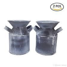 mini country rustic primitive jug vase milk can for office desktop