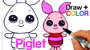 how to draw color piglet easy from winnie the pooh disney