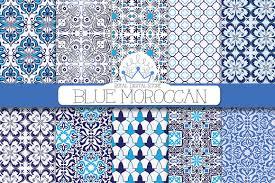 blue moroccan digital paper patterns creative market
