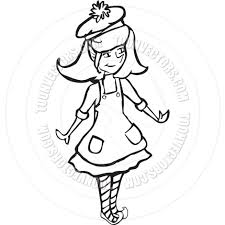 christmas elf black and white line art by starsania toon