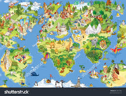 Kids World Map Great Funny Cartoon World Map All Stock Illustration 3661400