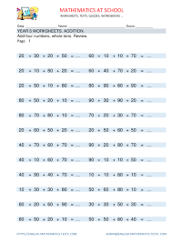 Addition Worksheets Pdf Year 5 Maths Worksheets Addition Adding Whole Tens 4 Addends With