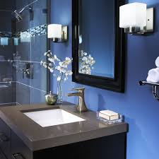 bathroom fascinating blue decoration with tile border wall design