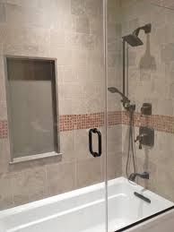 Bath And Shower In Small Bathroom Soft Brown Tiles Shower Areas With Steel Rain Head Shower And