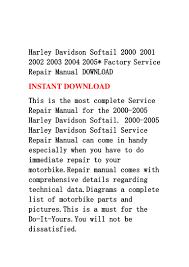 harley davidson softail 2000 2001 2002 2003 2004 2005 factory servic u2026