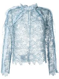 self portrait lace sheer blouse icy blue women clothing blouses