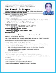 Resume For Call Center Jobs by Sample Resume For Call Center Agent Applicant Resume For Your