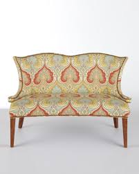 furniture horchow rosie settee with brown wood legs for living