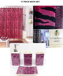 amazon com 17 piece bath accessory set pink zebra shower curtain