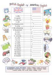 FREE USA Worksheets ESL Printables British   American English Picture Dictionary ESL Worksheet