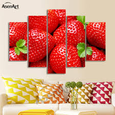 Artwork For Dining Room Aliexpress Com Buy 5 Panel Wall Art Strawberry Fruit Pictures