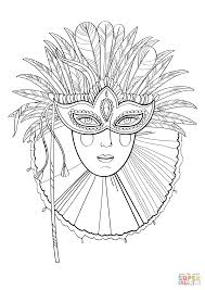 beautiful lady in carnival mask coloring page free printable