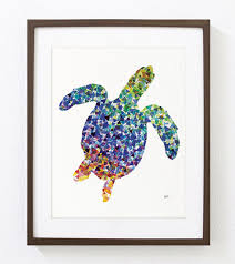 Sea Turtle Home Decor Geometric Sea Turtle Art Watercolor Painting 8x10 Archival