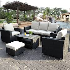 White Resin Wicker Outdoor Patio Furniture Set - patio black rattan with white cuhsion wicker patio set for modern