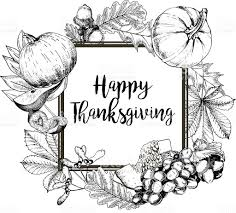 greeting for thanksgiving vector border greeting card for thanksgiving hand drawn vintage