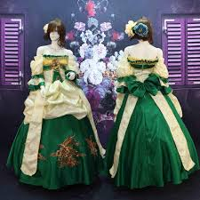 18th Century Halloween Costumes Vintage Green Red Print Shoulder Ball Gown Marie