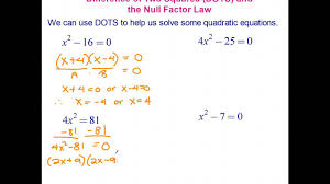 solving quadratic equations using the difference of two squares
