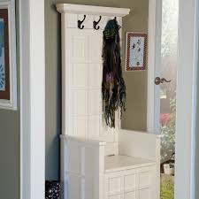 Storage Bench With Hooks by Furniture Varnished White Oak Wood Bench With Back Mixed Wall