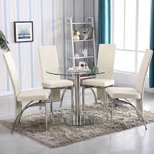 Glass Rectangle Dining Table Amazon Com 4family 5 Pc Round Glass Dining Table Set With 4