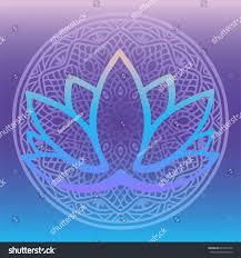 stylized lotus flower logo shades blue stock vector 694374190