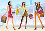 Fashion Shopping Girls Illustration Royalty Free Cliparts, Vectors ...