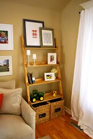 ladder bookcase decorating theme comes with mahogany wood frames