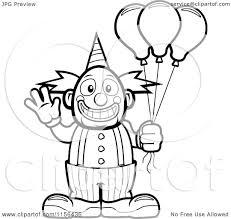 cartoon clipart of a black and white friendly waving circus clown