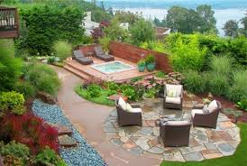 backyard landscaping with garden also outdor furniture and pergola