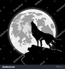 howling wolf front cartoon moon halloween stock vector 404315851