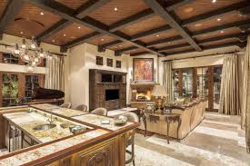 Exposed Beam Ceiling Living Room by Luxury Custom Home Mediterranean Style Architecture By