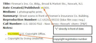 Sample catalog record with copyright number and copyright date recorded