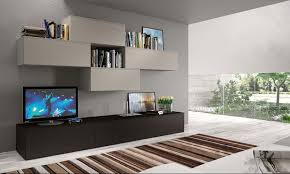 INTERIOR DESIGN Cozy Striped Rugs With Exciting Modern Wall Units - Family room wall units