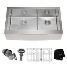 KRAUS Farmhouse Apron Front Stainless Steel  In Double Basin - Kitchen sink plumbing kit