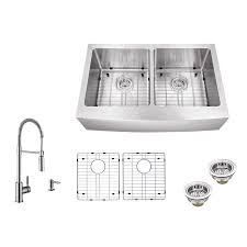 Farmhouse Kit Shop Superior Sinks 33 In X 20 In Brushed Satin Double Basin