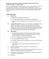 Sample Dissertation Proposal Outline Template Download