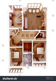 plan view apartment clear 3d interior stock illustration 45075649