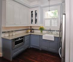 Crown Moldings For Kitchen Cabinets Blue Cottage Kitchen Cabinets Kitchen Traditional With Glass Front